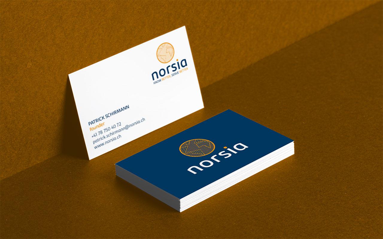 Norsia graphisme carte de visite réalisé par Atelierlak