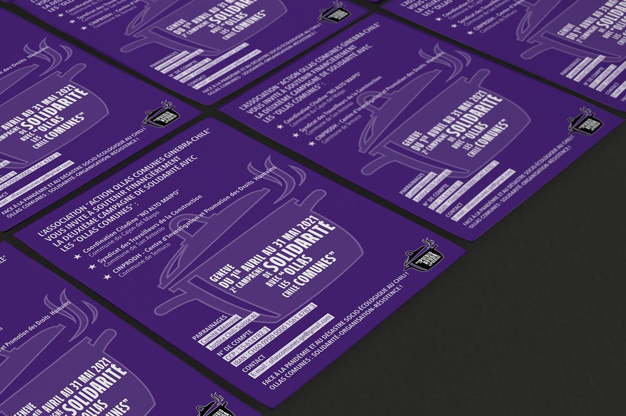 Association Ollas Comunes Ginebra-Chile flyer réalisé par Atelierlak